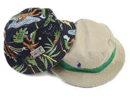 Polo Ralph Lauren Reversible Safari Bucket Hat Cap Tan w/ Gr