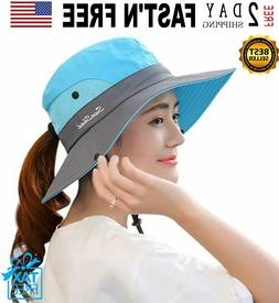 Safari Hat With Ponytail Hole Women Outdoor Sun Hat Protecti