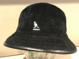 KANGOL Shavora Casual Real Fur Bucket  Hat Cap Black Rabbit