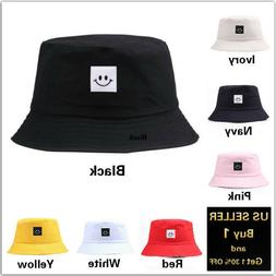 Smile Bucket Hat Cap Cotton Fishing Boonie Brim visor Sun Sa