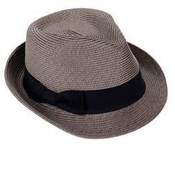 Straw Fedora Hat Sun Trilby Unisex Summer Beach Hats Fashion