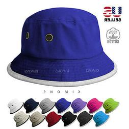 Stripe BUCKET HAT Cap Cotton Fishing Polo Style Boonie Brim