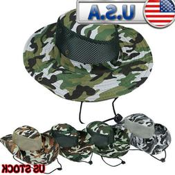 Summer Bucket Hat Cap Camo Men's  Brim Sun UV Protect Hiking