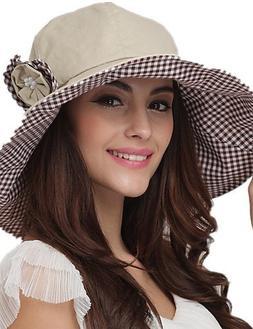 Suvsertu Summer Hats Floppy Sun Hat Cotton Beach Hat Ladies