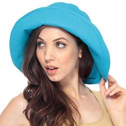 Simplicity Women's Cotton Summer Beach Sun Hat with Wide Fol