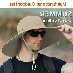 Summer Unisex Wide Brim Bucket Hat UV Sun Protection Hiking
