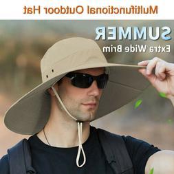 Summer Unisex Wide Brim Bucket Hat UV Sun Protection Hiking