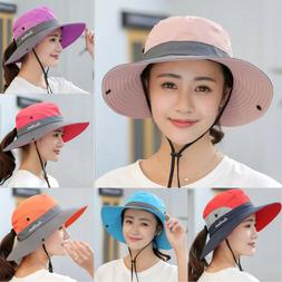 Summer Women's Sun Hat Bucket Fishing Hiking Cap Wide Brim U