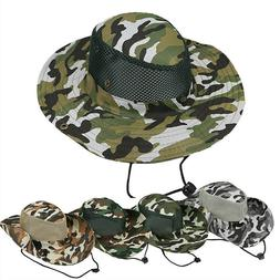 Sun Camo Bucket Hat Boonie Hunting Fishing Outdoor Cap Wide