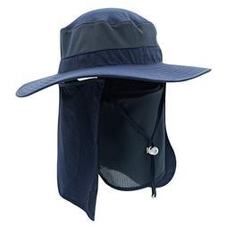 Home Prefer Men's Sun Hat Mesh Bucket Hat Detachable Neck Fa