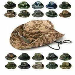 Mens Tactical Boonie Bucket Hats Camo Military Wide Brim Bus