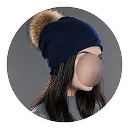 Glittering time Winter Women Real Fur pom pom Hats,02D,China
