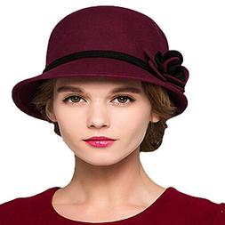 Maitose&Trade; Women's Bow Wool Felt Bucket Hat Wine Red