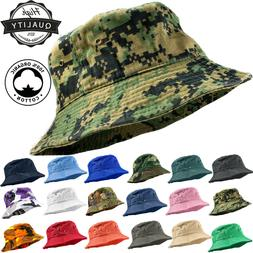 Unisex 100% Cotton Camo Bucket Hat Fishing Camping Safari Bo