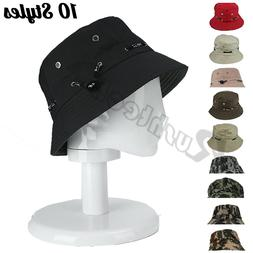 Unisex Bucket Hat Cotton Fisherman Cap Military Fish Camping