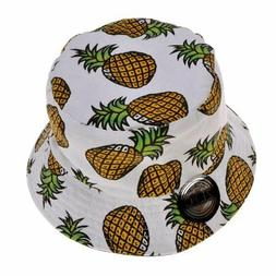 ZLYC Unisex Cute Pineapple Print Bucket Hat Summer Fisherman