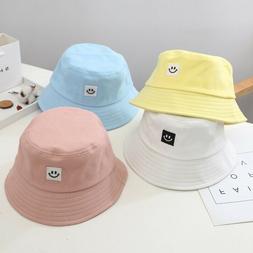unisex foldable smile bucket hat outdoor sunscreen