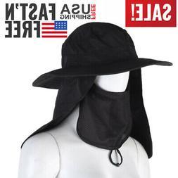 Unisex Mens Mesh Fishing Bucket Hat Face Neck Cover Mask Fla