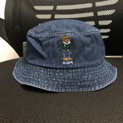 Unisex Style Bucket Hat Embroidery Polo Bear Casual Denim/Je