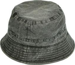 Unisex Washed Cotton Denim Bucket Hat Packable Summer Travel