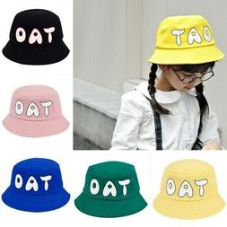 US Baby Girls Letters Print Bucket Hats Casual Caps Reversib