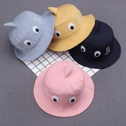 US Baby Kids Boy Girl Cartoon Print Bucket Hats Caps Reversi