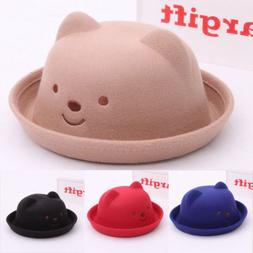 US Baby Kids Cute Bear Ears Bucket Hats Felt Sun Caps Outdoo efcb275700db