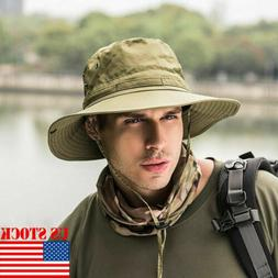 US Boonie Bucket Hat Fisherman Wide Brim Safari Cap Pure Cap