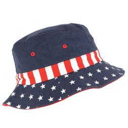 USA Flag Designed Cotton Bucket Hat - FREE SHIPPING