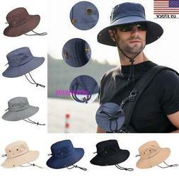 USA Men's Summer Sun Hat Bucket Fishing Hiking Cap Wide Brim