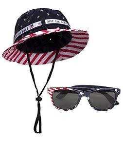 Gravity Trading USA Stars and Stripes Kit - Bucket Hat + Sun