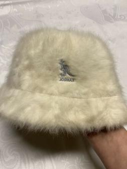 Vintage Authentic Kangol Furgora Ivory Fur Bucket Hat Fuzzy