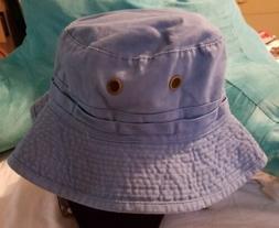 vintage fishing bucket hat cap blue color