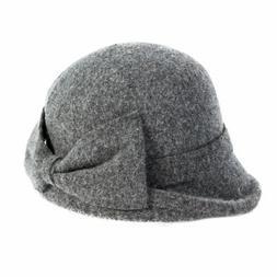 Siggi Womens Vintage Wool Felt Cloche Bucket Bowler Hat Wint