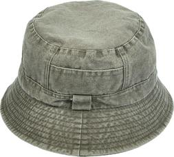 Washed Cotton Denim Bucket Hat Packable Summer Travel Lined