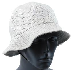 YUMS White Perforated Jersey Mesh Poly Leather Bucket Style