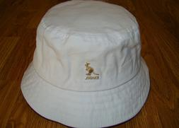 White  KANGOL  Washed   Bucket  Hat  Style K4224HT