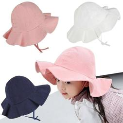 Wide Brim Baby Sun Hat Cotton Kids Bucket Cap Summer Beach G