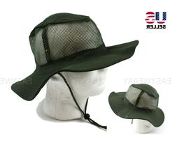 Wide Brim Boonie Bush Safari Fishing Hiking Hat Mesh Cool Su