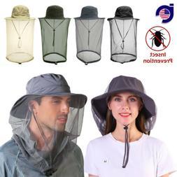 Men Women Mosquito Head Face Net Hat Boonie Hat Sun Cap Hidd