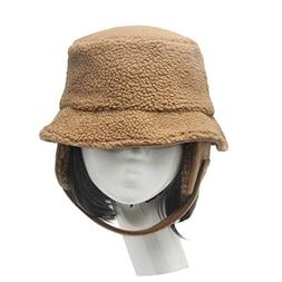 Winter Hat Lamb Cashmere Feel Bucket Hat with Ear Flaps Wome
