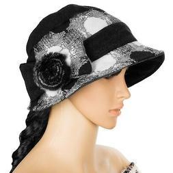 Black Women Winter Wool Cloche Bucket Hat Dress Church Cap W