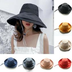 Women Travel Sun Cap Hat Casual Holiday Wide Brim Bucket Hat