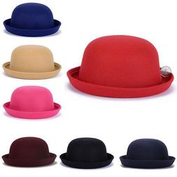 Women Bowler Hat Wide Brim Bucket Cap Princess Fedoras Trilb