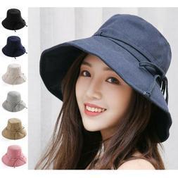 Women Bucket Hat Cotton Fishing Brim Boonie Visor Sun Summer