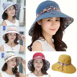 Women Foldable Wide Brim Floppy Bucket Caps Summer Beach Out