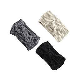 Women Hair Ball Knitting Headband Elastic Handmade Bow Twist