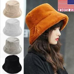 Women Ladies Winter Bucket Faux Fur Hat Cute Warm Caps Hunti