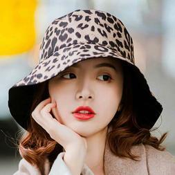 Women Leopard Cotton Double Sided Bucket Summer Sun Hat Fish