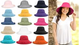 Women's Anti-UV Fashion Wide Brim Summer Beach Cotton Sun Bu